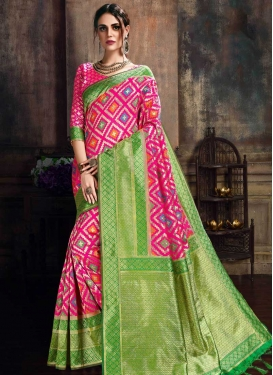 Mint Green and Rose Pink Thread Work Trendy Saree