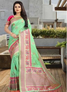 Mint Green and Rose Pink Traditional Designer Saree