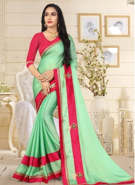 Mint Green and Rose Pink Traditional Saree For Ceremonial