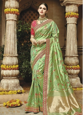 Mint Green and Rose Pink Trendy Classic Saree For Party
