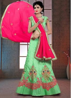 Mint Green and Rose Pink Trendy Designer Lehenga Choli For Ceremonial