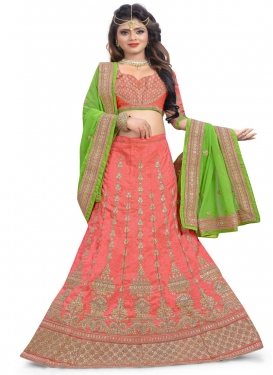 Mint Green and Salmon A - Line Lehenga