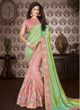 Mint Green and Salmon Beads Work Half N Half Designer Saree