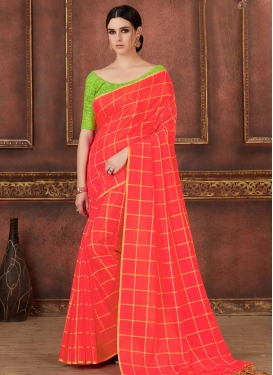 Mint Green and Salmon Contemporary Saree