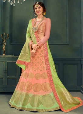 Mint Green and Salmon Resham Work A Line Lehenga Choli