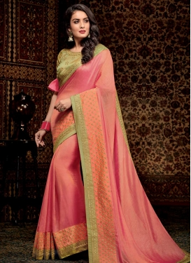 Mint Green and Salmon Traditional Saree