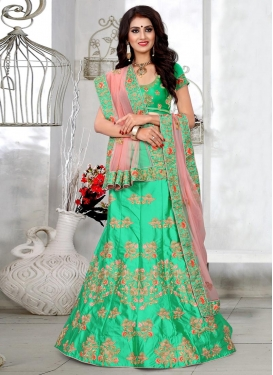 Mint Green and Salmon Trendy A Line Lehenga Choli For Festival