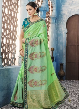 Mint Green and Sea Green Beads Work Satin Silk Designer Traditional Saree