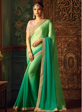 Mint Green and Sea Green Chiffon Satin Contemporary Style Saree