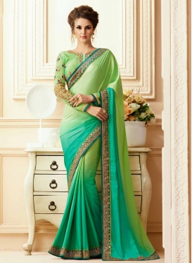 Mint Green and Sea Green Contemporary Saree For Ceremonial