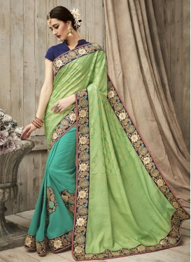 Mint Green and Sea Green Half N Half Saree For Bridal