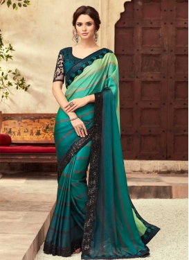 Mint Green and Teal Embroidered Work Classic Saree