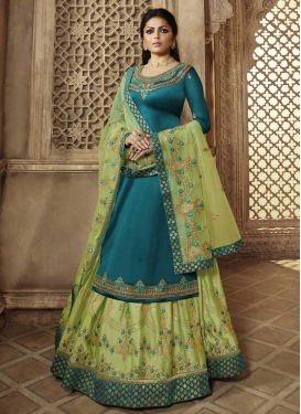 Mint Green and Teal Kameez Style Lehenga