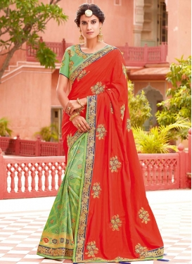 Mint Green and Tomato Embroidered Work Half N Half Saree