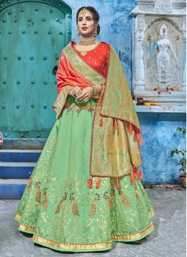 Mint Green and Tomato Lehenga Choli For Festival