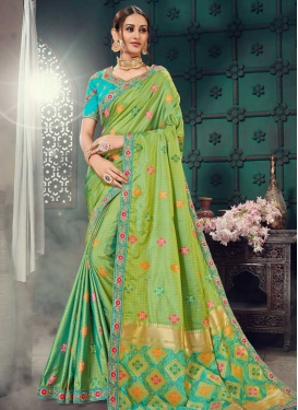 Mint Green and Turquoise Embroidered Work Trendy Saree