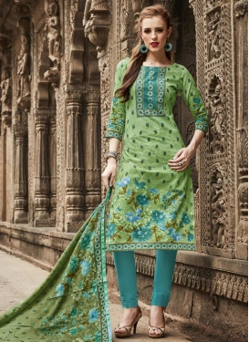 Mint Green and Turquoise Pant Style Straight Salwar Suit