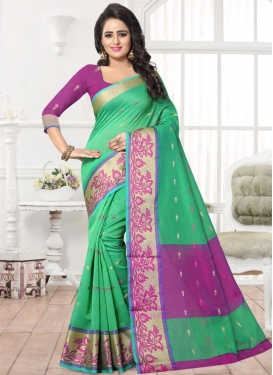 Mint Green and Violet Banarasi Silk Contemporary Saree