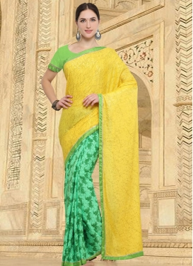 Mint Green and Yellow Half N Half Saree For Casual