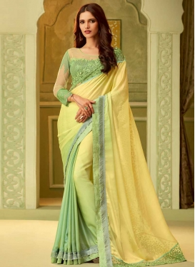 Mint Green and Yellow Trendy Saree