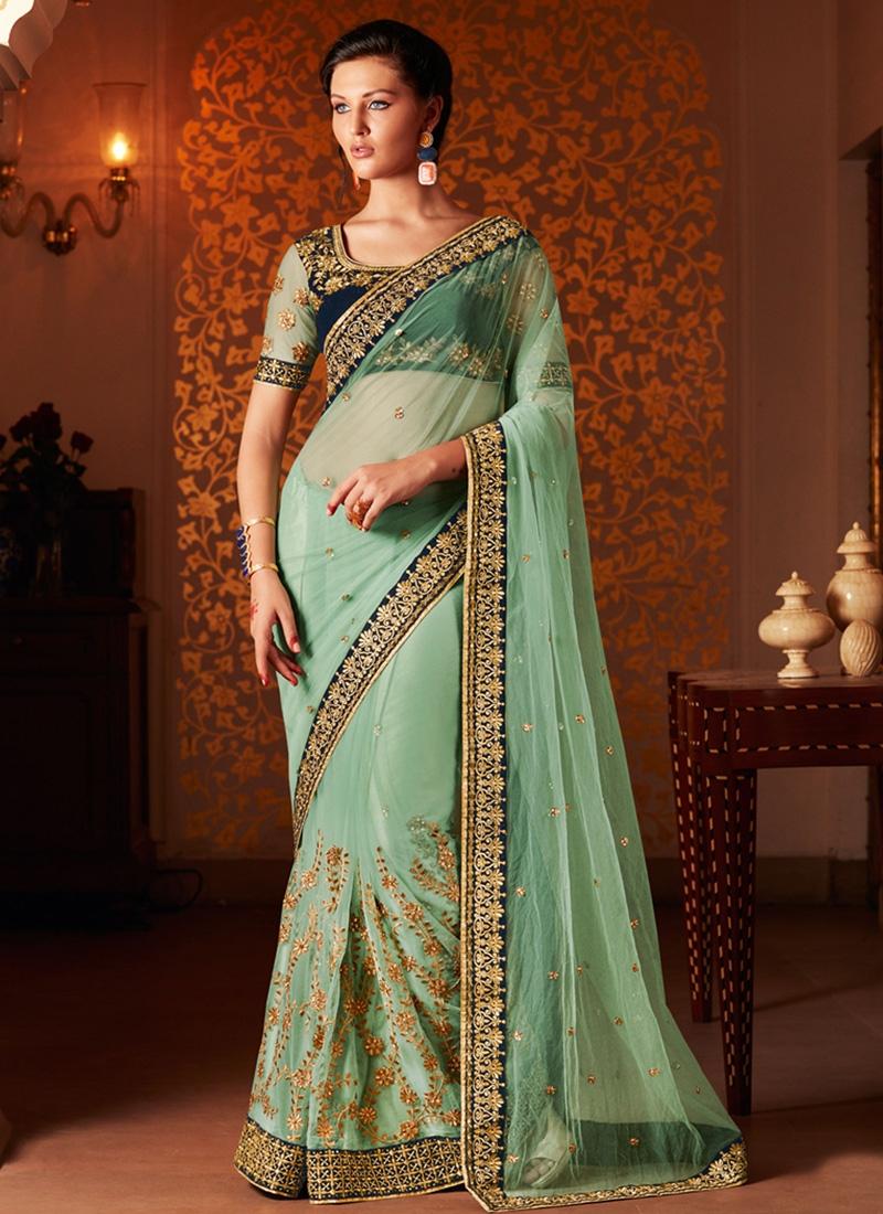 Miraculous Aqua Blue Color Net Wedding Saree