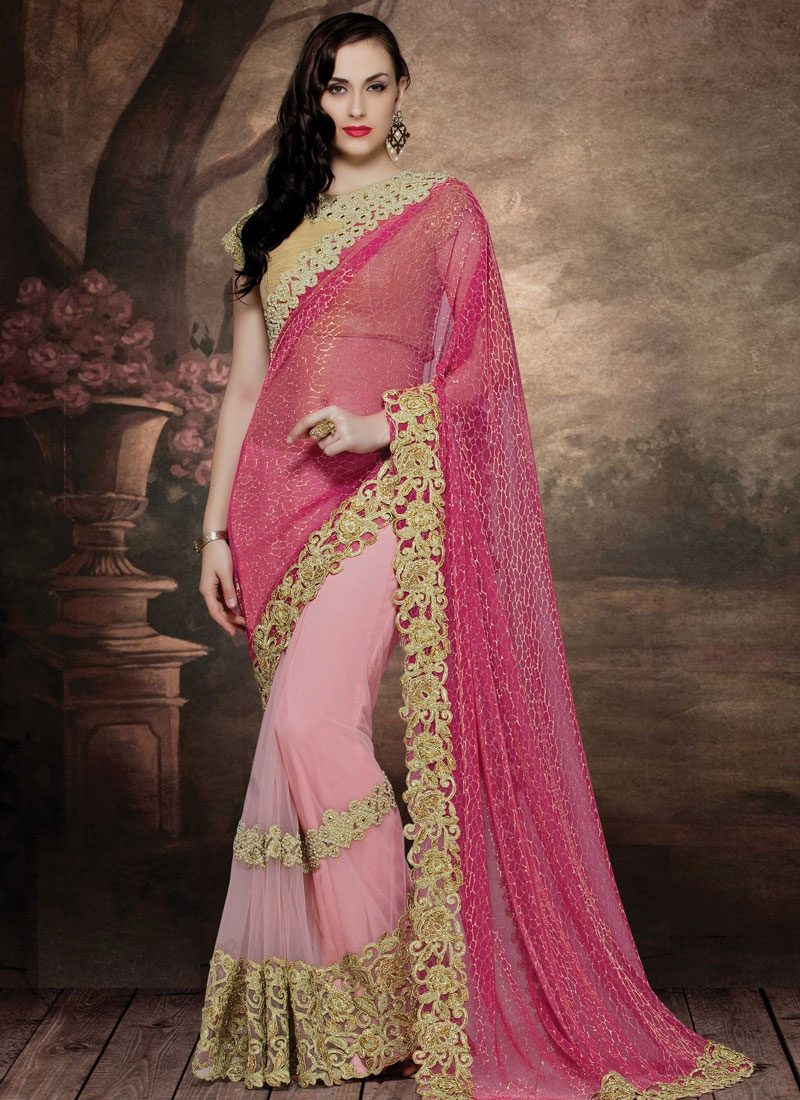 Miraculous Beads And Mirror Work Half N Half Wedding Saree