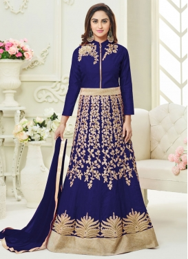 Miraculous Beads Work Art Silk Trendy Anarkali Salwar Kameez