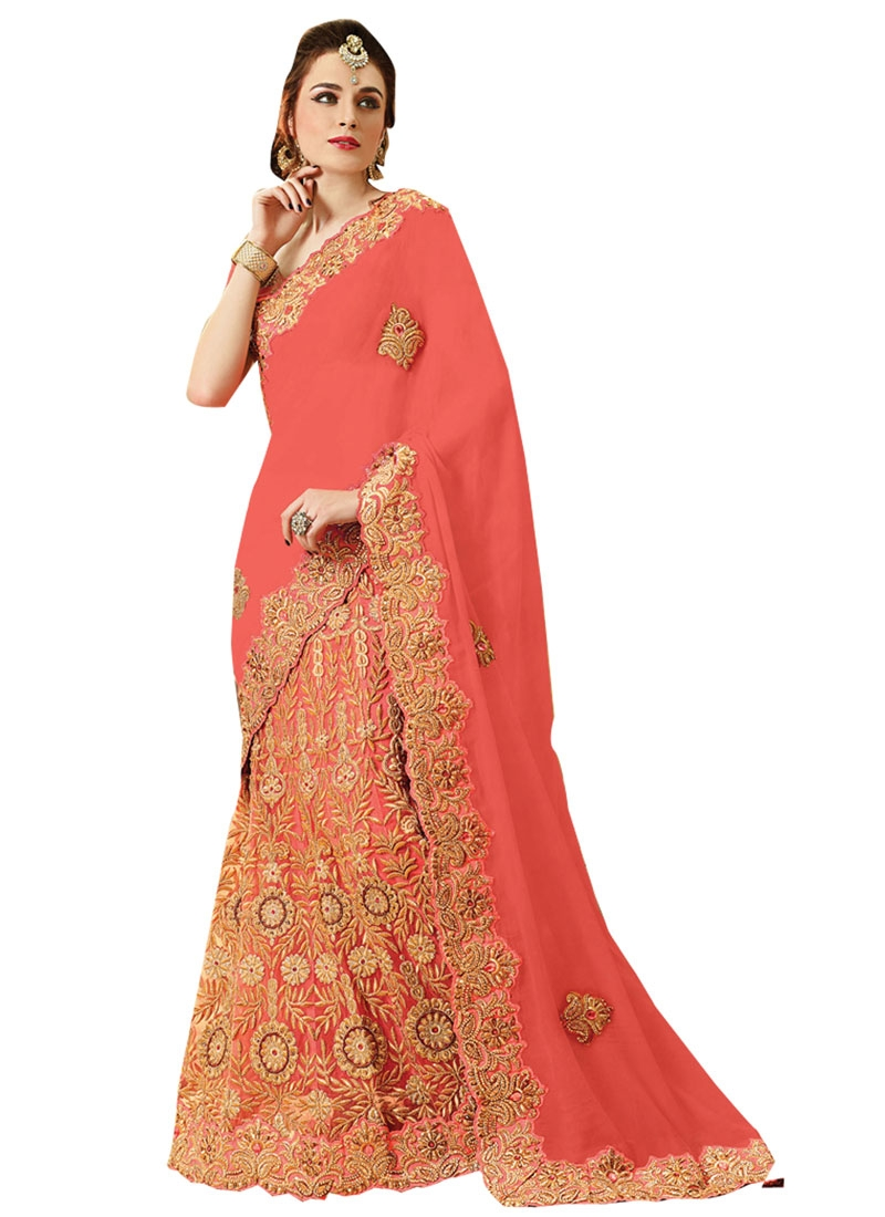 Miraculous Booti Work Bridal Lehenga Saree