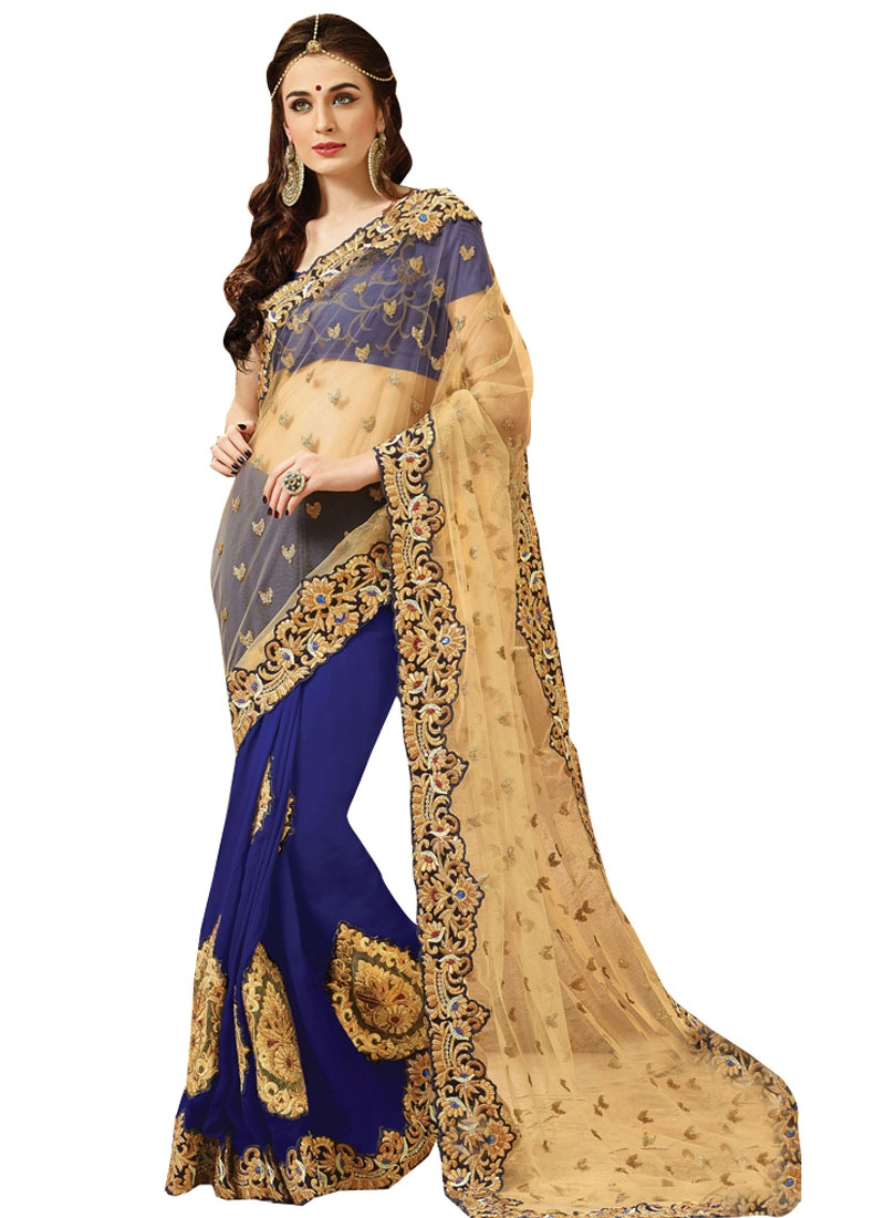 Miraculous Booti Work Half N Half Bridal Saree