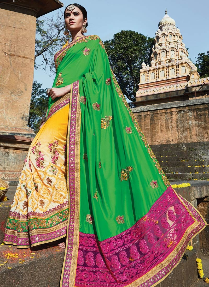 Miraculous Booti Work Silk Half N Half Bridal Saree