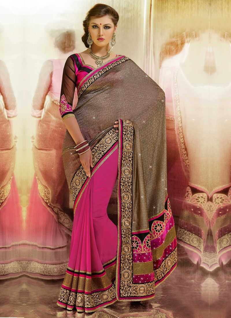 Miraculous Brown And Rose Pink Color Half N Half Saree