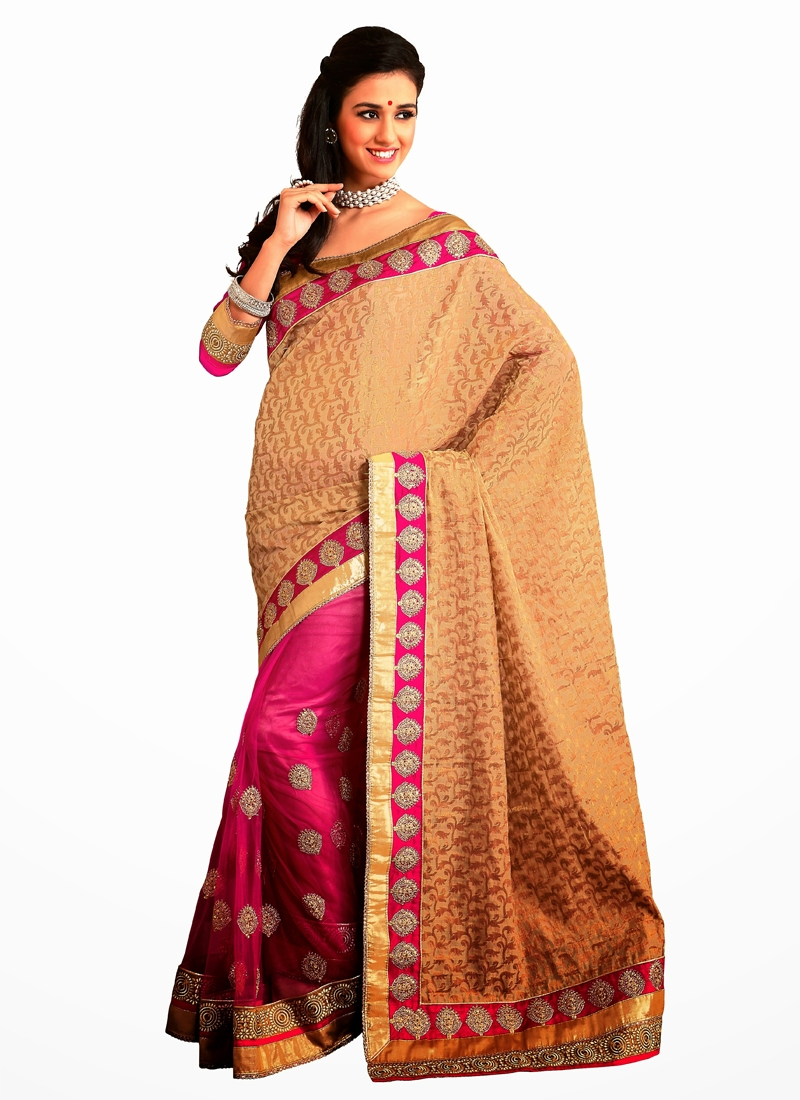Miraculous Chicken And Lace Work Half N Half Saree