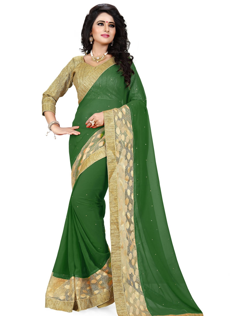 Miraculous Faux Georgette Stone Work Party Wear Saree