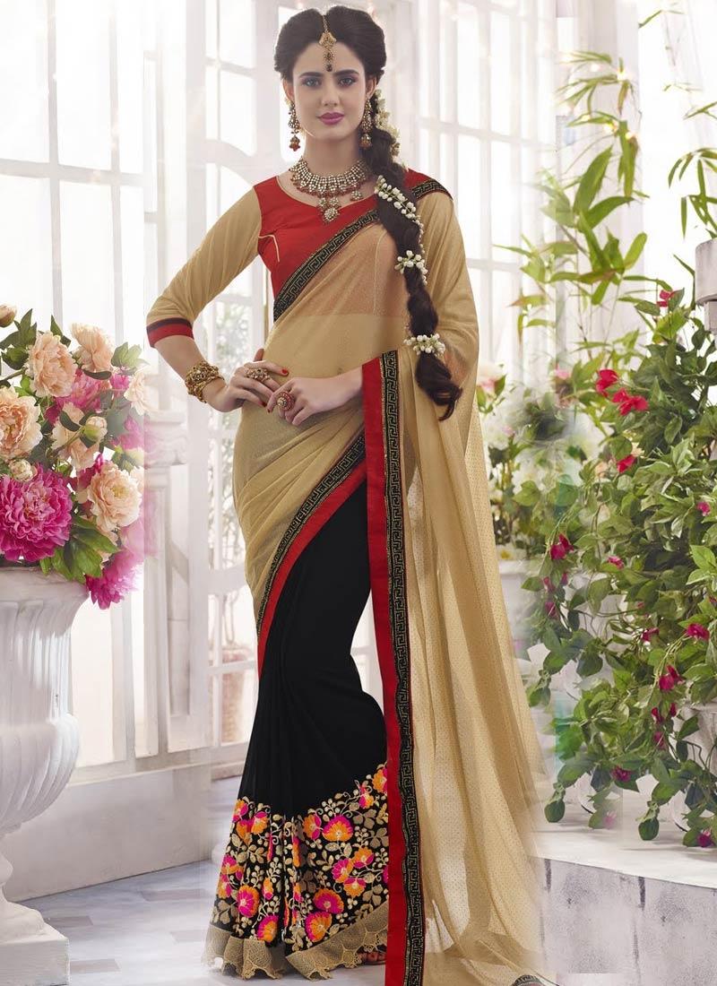 Miraculous Floral Work Half N Half Designer Saree