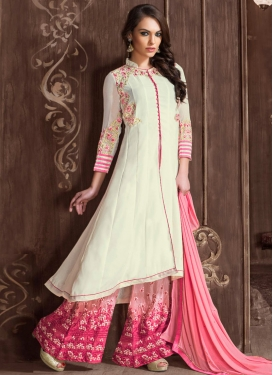 Miraculous Floral Work Palazzo Style Designer Salwar Suit