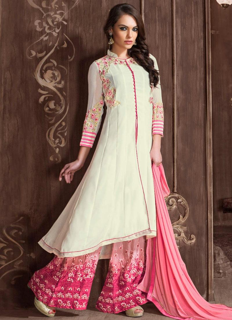 Miraculous Floral Work Palazzo Style Designer Salwar Suit
