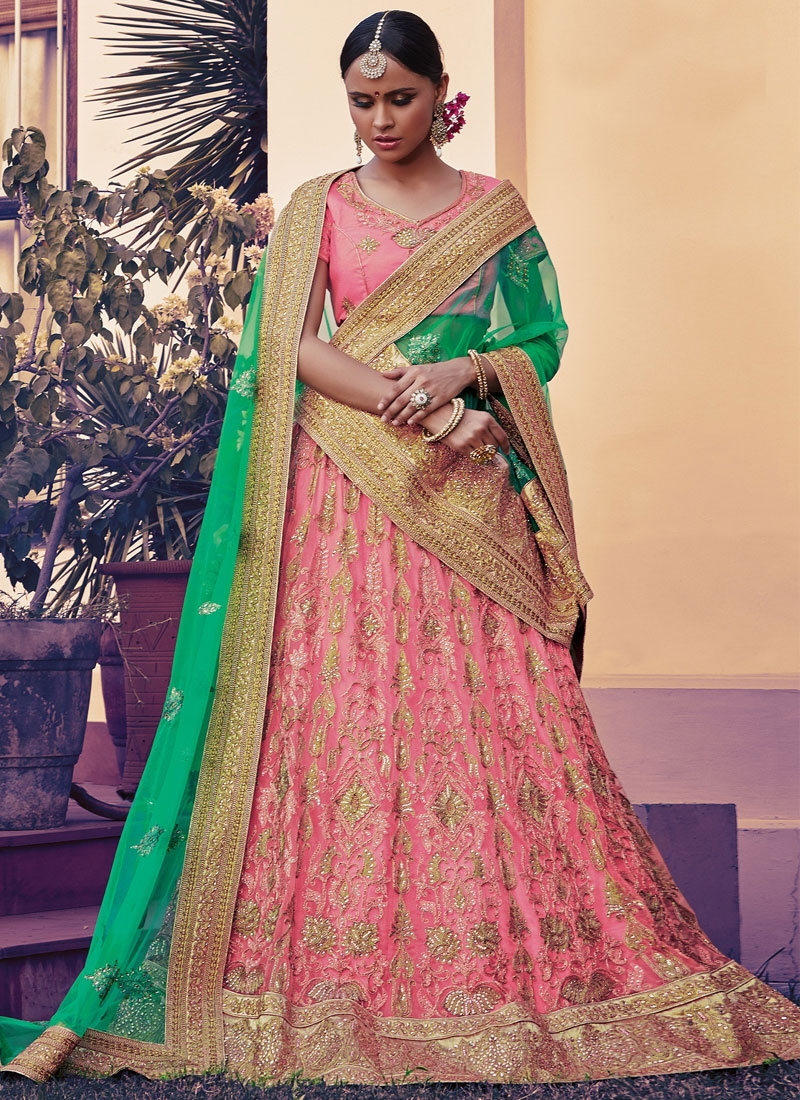 Miraculous Hot Pink Color Net Bridal Lehenga Choli
