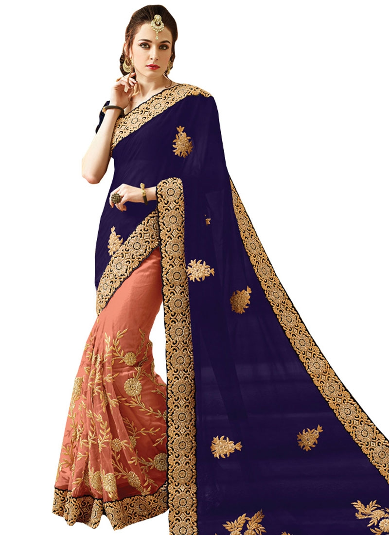Miraculous Navy Blue Color Net Half N Half Bridal Saree