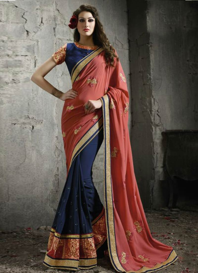 Miraculous Patch Border And Resham Work  Half N Half Designer Saree