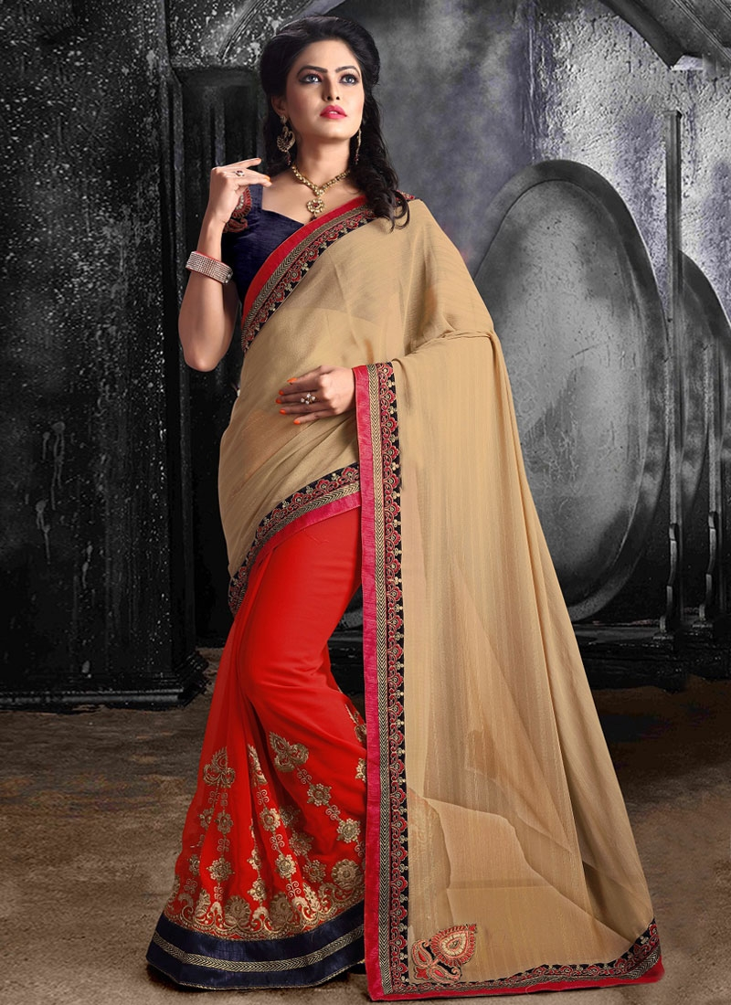 Miraculous Red Color Faux Georgette Half N Half Party Wear Saree