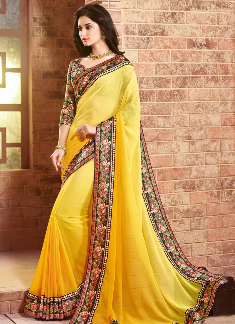 Miraculous Resham And Lace Work Party Wear Saree