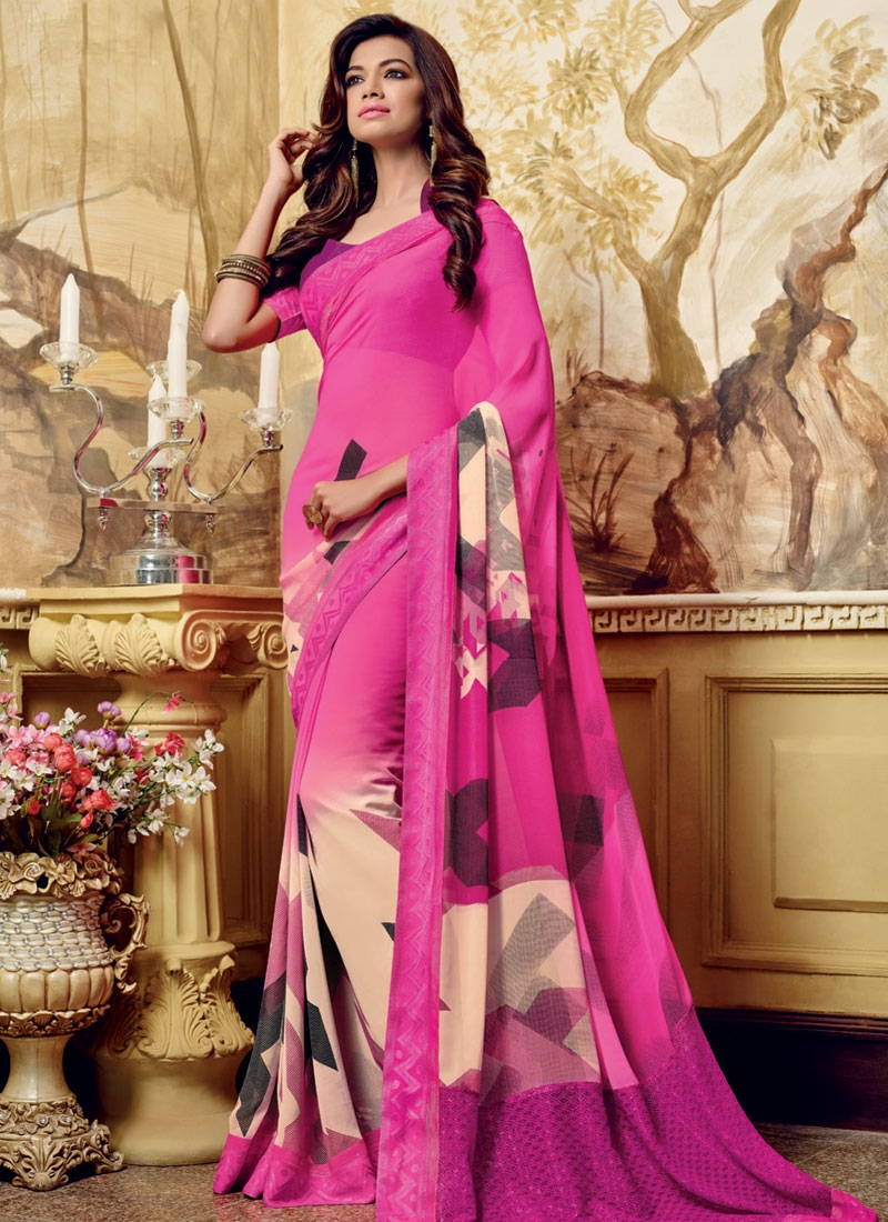 Miraculous Rose Pink Color Printed Casual Saree