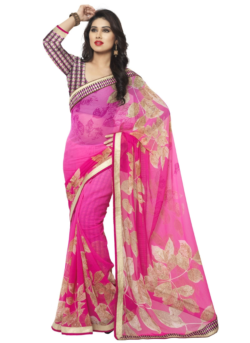 Miraculous Rose Pink Color Resham Work Casual Saree
