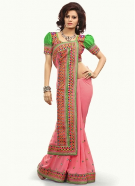 Miraculous Stone Work Salmon Color Designer Saree