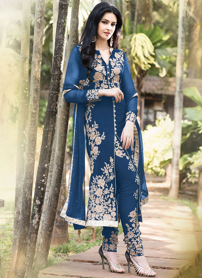 Mod Floral Work Blue Color Designer Salwar Suit