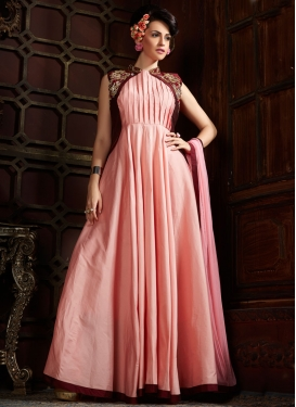 Mod Salmon Color Jacket Style Readymade Designer Gown