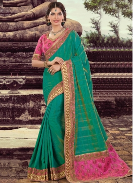 Mod Silk Green and Rose Pink Contemporary Style Saree