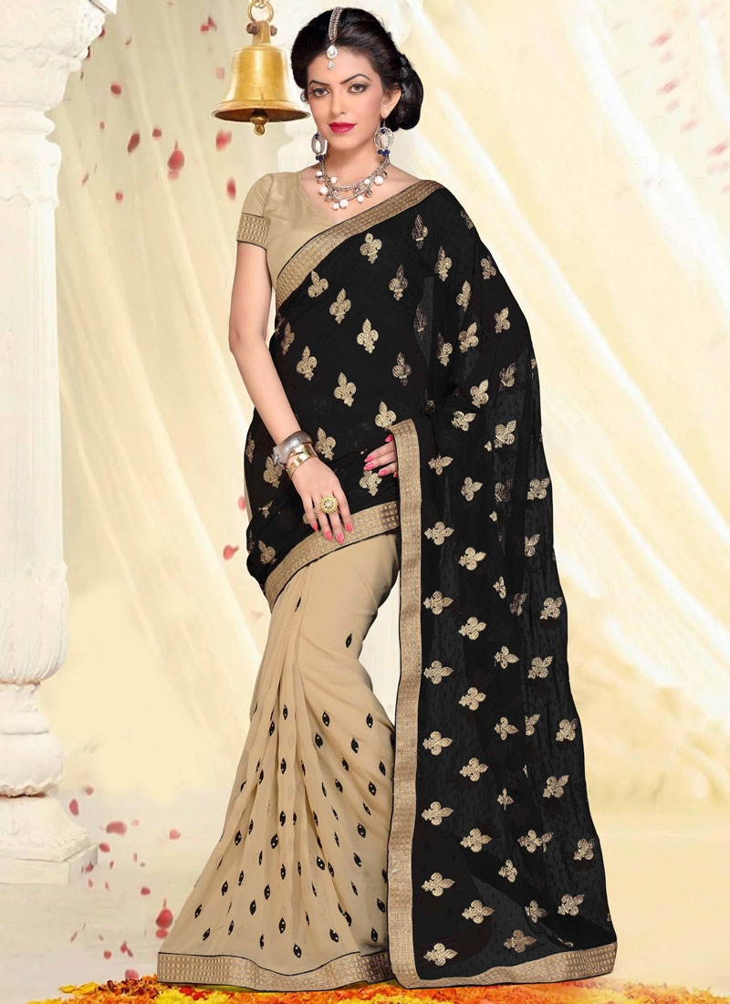 Modern Black And Beige Color Half N Half Designer Saree