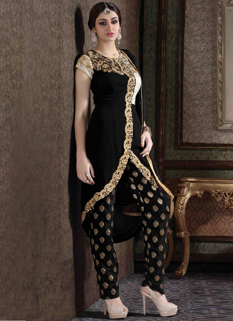 Modern Black And White Color Pant Style Designer Salwar Kameez