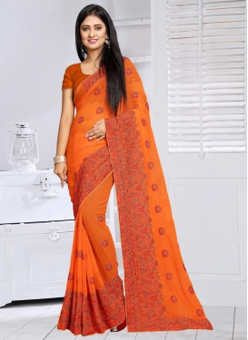 Modern  Faux Georgette Booti Work Traditional Saree